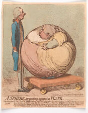 A Sphere Projecting Against a Plane James Gillray 1792 Satire 7x5 Inch Print