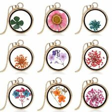 Natural Real Dried Flower Shining Resin Round Glass Locket Pendant Necklace Hot