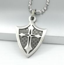 Silver Black Chrome Dog Tag Knights Templar Shield Cross Pendant Chain Necklace
