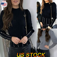 Women Fashion Casual Studded Long Sleeve Puff Sleeve Rivet Tops Shirt Blouse US