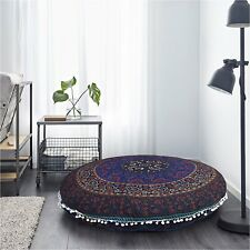 "Bohemian Decor 32"" Mandala Floor Pillow Meditation Cushion Round Cushion Cover"