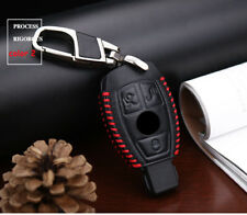 Leather Car Key Case Fob Holder Cover Chain For Mercedes Benz Remote 3 Buttons