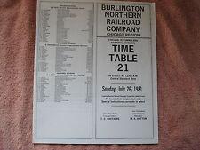 1981 BURLINGTON NORTHERN RR No.21,CHICAGO,OTTUMWA & HANNIBAL EMPLOYEE TIME TABLE