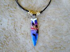 SURFBOARD SHARK TOOTH NECKLACE beach wood surfer/n089gy