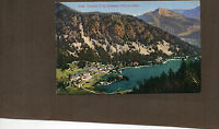 Switzerland mount Champex and lake champex chalets 1930's colour card unposted