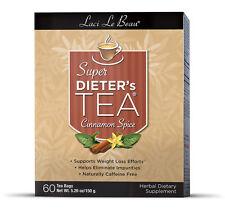 Laci Le Beau Super Dieter's Tea Bags - Cinnamon Spice 60 ea, Caffeine Free NIB