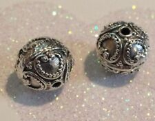 BALI .925 STERLING SILVER 11 x 12mm ROUND ORNATE FOCAL BEAD #1516 - (1)