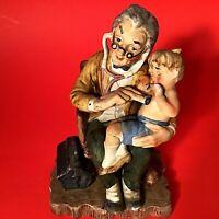 "LEFTON DOCTOR & CHILD FIGURINE 6 1/2"" HAND DECORATED VINTAGE VIBRANT MULTI COLOR"