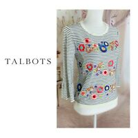 NEW Talbots Women's Bell Sleeve Striped Embroidered Top Petite Small