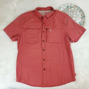 Coleman Outdoor Company Mens Shirt Size XL Red Short Sleeve Button Down Vented