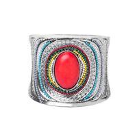 Vintage Women Fashion Bohemian Silver Plated Bangle Punk Cuff Bracelet Jewelry