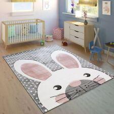 Childrens Rug Modern Carpet Kids Bedroom Playmat Boys Girls Rabbit Grey Bunny