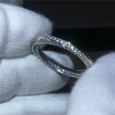 10K White Gold 1.90Ct Round Moissanite Full Eternity Band Engagement Ring Womans