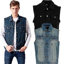 Urban Classics Herren Denim Weste Jeansweste Jeans Jeansjacke Jacke schwarz blau