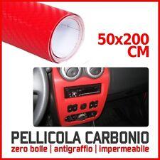 PELLICOLA CARBONIO 3D ADESIVA ADESIVO ROSSO 200X50 CM CAR WRAPPING AUTO MOTO
