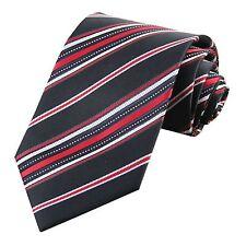 D.berite Black Stripe 100% Silk Classic Woven Men Tie Necktie Groom Party JP156