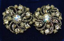 Brillante Color Plata Rosacea Blanco Diamante Imitacion Pendientes de Clip 12k