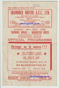 Shamrock Rovers V Manchester United 1949 Very Rare Friendly Programme