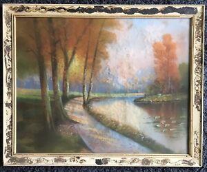 A.H. Glatthaar 1879-1950 Original Pastel Woods River Path Water Lilies Americana