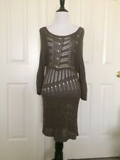 Moda International Olive Green Crocheted Dress Sweater top size S