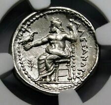 NGC Ch AU 5/5-3/5 Alexander the Great Stunning Lifetime Drachm Greek Silver Coin