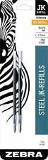 2 Zebra 88012 JK Refills Fine Point 0.5 mm Black 0.5mm for G-402 G402 metal pens