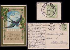 Belgique 1911 Tp Obl LANEFFE RELAIS sur Cp fantaisie IRONDELLE.............X1596