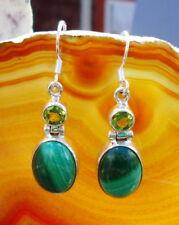 Pendiente Malaquita Verde Piedra de Afrodita y Peridoto Plata Esterlina 925
