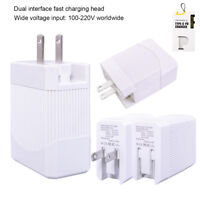 100-220V Universal 2-Port Wall Charger Quick Charging for Cell Phone and more