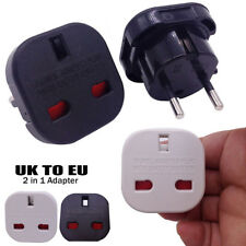 UK A EU Euro Europa Enchufe de Adaptador del recorrido 2 en 1 Portátil Negro