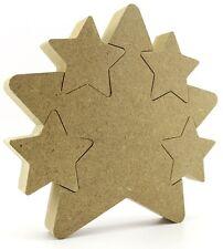 18mm MDF Star In Star 15cm 4 Interlocking Stars Freestanding Baby Gift blank cnc