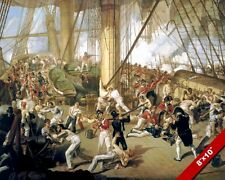 DEATH OF ADMIRAL LORD H. NELSON HMS PAINTING TRAFALGAR WAR ART REAL CANVAS PRINT