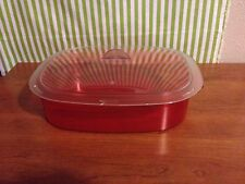 New Tupperware  Acrylic Microwave Rice Server Sheer Red w/ Clear Lid  8 1/2 Cups
