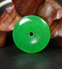 CHINESE Icy Green JADE PENDANT Circle Donut Amulet 256989