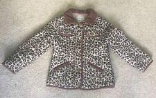 Next Girls Leopard Print Coat Jacket Cord Trim Collar 5-6 Years