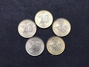 5pcs lot Malaysia 20 Sen 1973 parliament coins BU