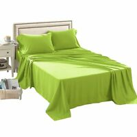 3/4 Pcs Bed Fitted Sheet Set Twin Full Queen Super Soft 1500 Brushed Microfiber