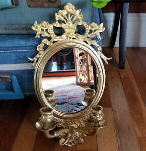 Vintage Ornate Brass Mirror And Double Candle Holder  Wall Sconce Floral Festoon
