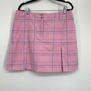 Nike Golf Fit Dry Plaid Pleated A-Line Activewear Tennis Skort Pink Womens Sz 12