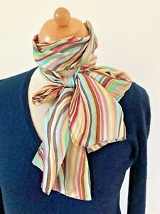 Accessorize Silk Scarf Blue Pink Stripes