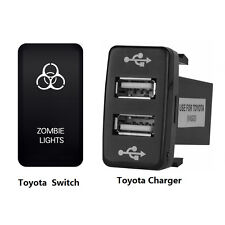 Car Dual USB Socket Charger+White LED Zombie Light Rocker Switch On Off Toyota