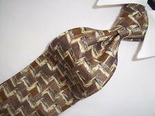 "Ermenegildo Zegna Beige, Brown Woven Silk Tie 58""L x 3.75""W"