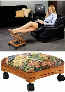 Footrest Adjustable Elevated Footstool Ottoman Tapestry Covered Fold-Away Otoman