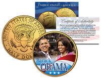 BARACK & MICHELLE OBAMA 2008 JFK Kennedy Half Dollar U.S. Coin 24K Gold Plated