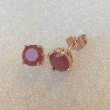 Classic round red ruby 7mm, 18k ROSE GOLD fill stud earrings BOXED Plum UK