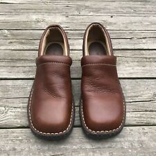 CHEROKEE Women's Leather Brown Med Clogs Professional Shoes Size 9.5 Slip ON