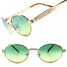 True Vintage Old Fashioned Hipster Indie Mens Womens Gold Round Oval Sunglasses