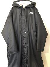 Nike 2020 Black Oversized Hooded Parka Coat  Long Knee Teddy Lining Uk L 16 18