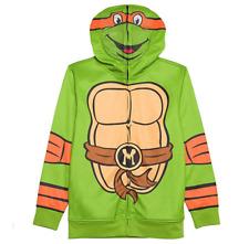 NICKELODEON Boy's Teenage Mutant Ninja Turtles Mikey Full-Zip Face Hoodie Size L