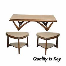 3 Pc Vintage Mid Century Danish Modern Mersman Coffee Table End Side Table Set